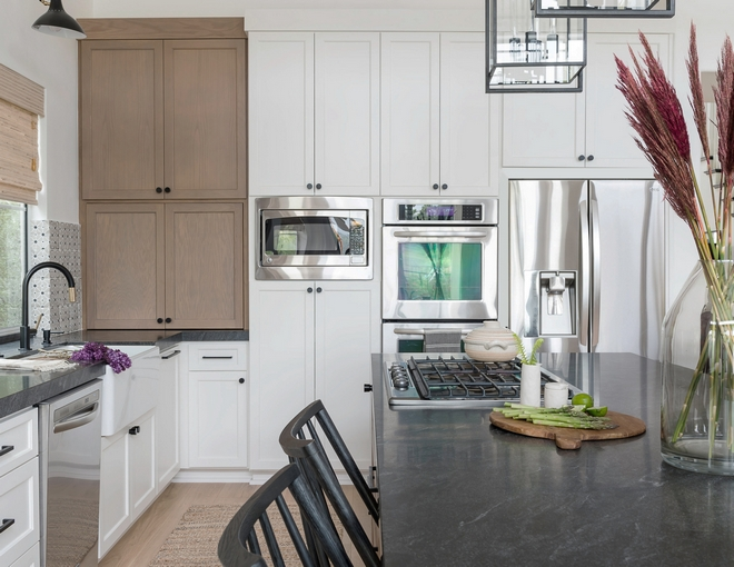 Kitchen Trend Wood Stained And Painted Cabinets Home