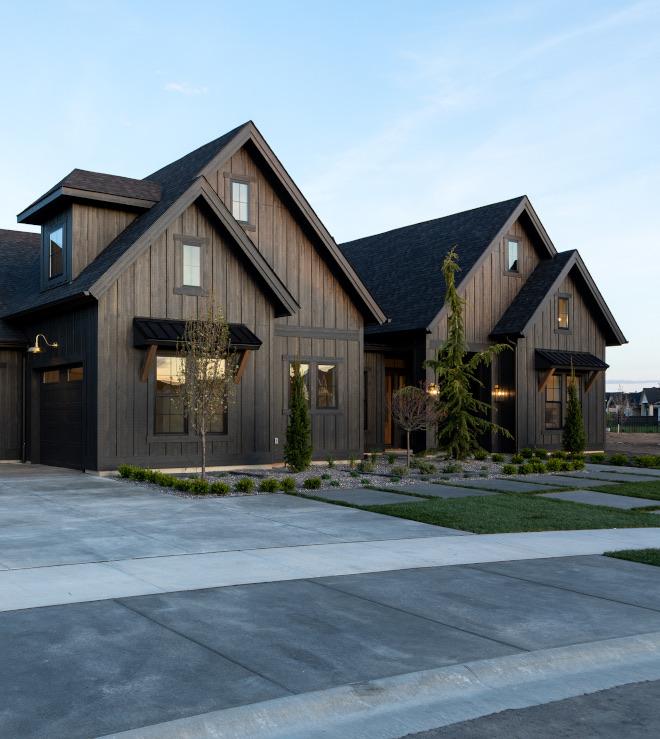 Black Modern Farmhouse With Black & White Interiors