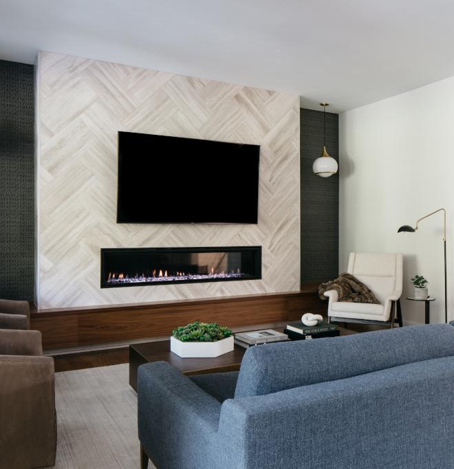 Modern Fireplace without mantel