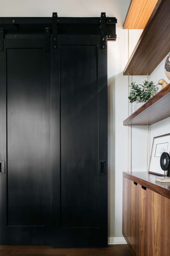 Black Barn Door paint Color Sherwin Williams Tricorn Black closet Barn door