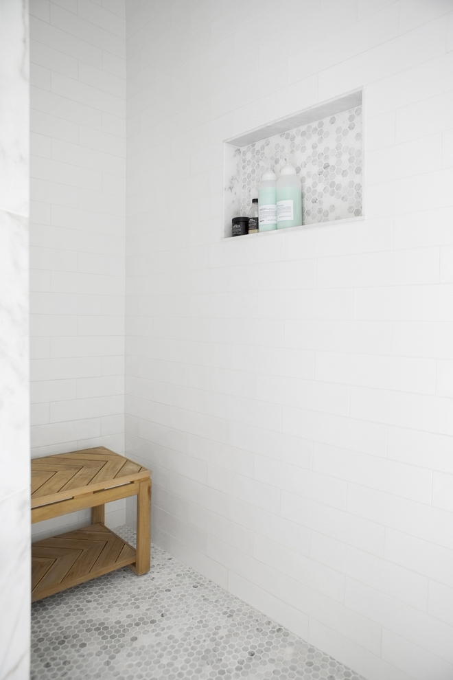 Shower tile combination without complication White subway tile and marble hex mosaic tile