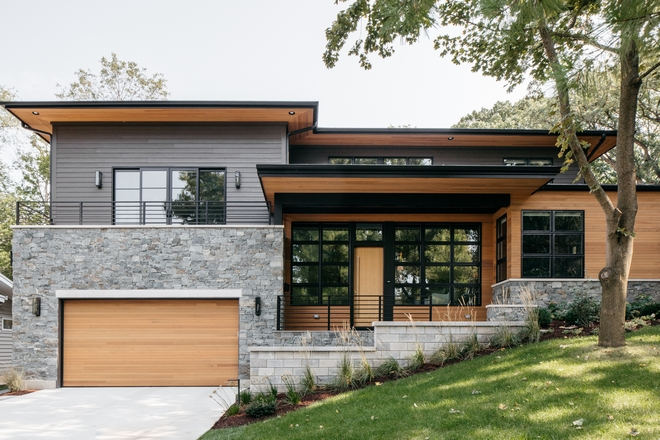 Dream home Mid-century inspired home exterior with modern farmhouse influences