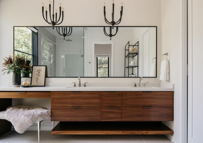Floating Walnut Bathroom Vanity with horizontal grain