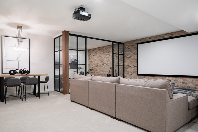 Brick accent wall in Basement