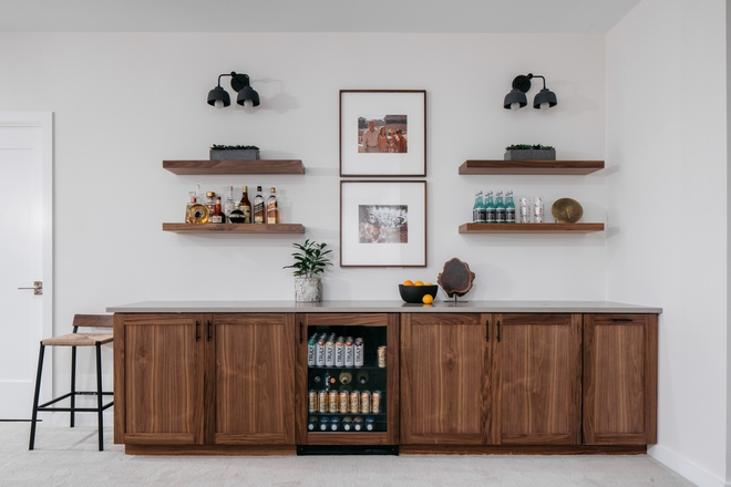 Basement Bar Cabinetry Maple Shaker-style cabinet