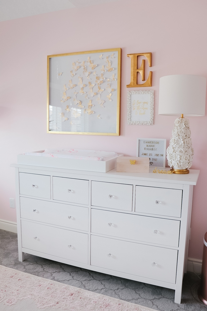 Pink nursery paint color Sherwin Williams SW 6309 Charming Pink