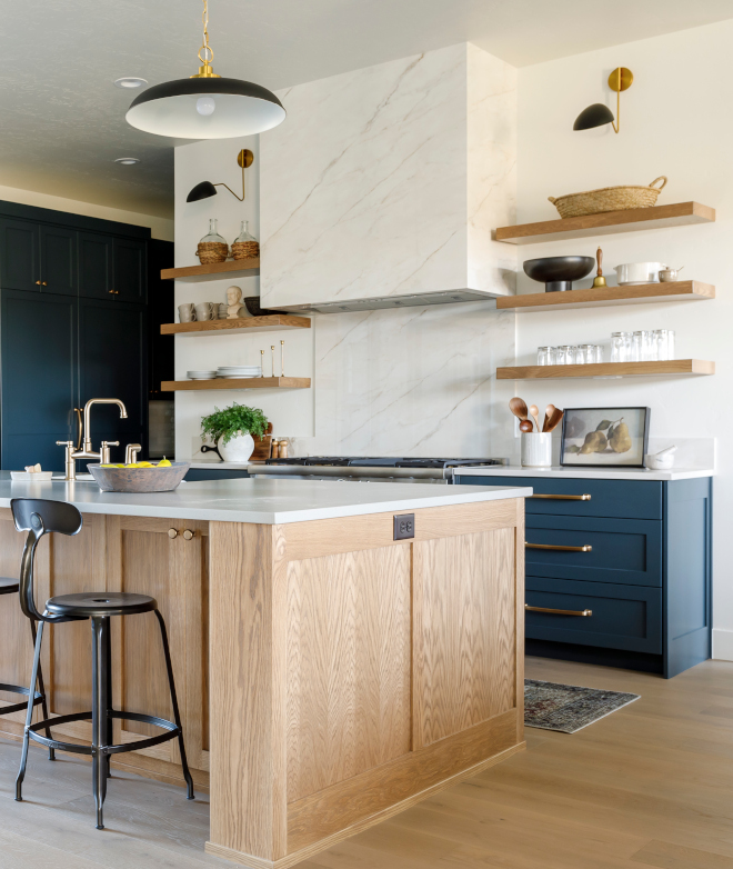 Blue Kitchen Cabinet with White Oak Island