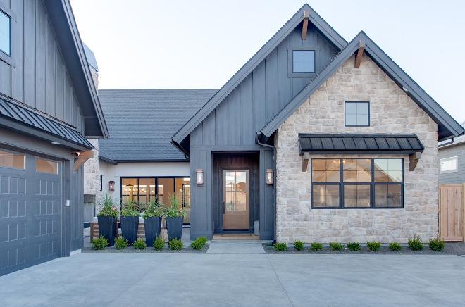 Modern Farmhouse Black Siding and Stone Combination Black Siding Stone Exterior