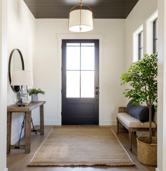 Modern Farmhouse Foyer Black Door Black Shiplap Ceiling Paneling