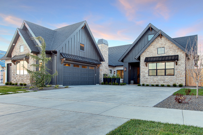 Sherwin Williams Iron Ore Black Modern Farmhouse Siding Paint Color