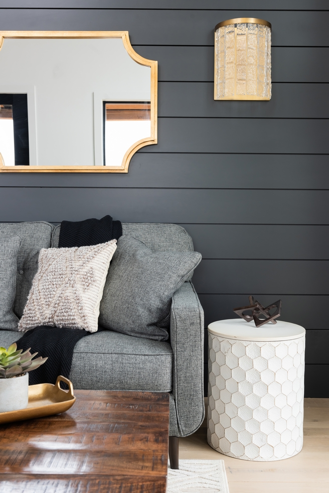 Sherwin Williams Iron Ore Black Shiplap Accent Wall Paint Color