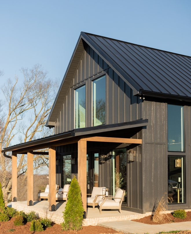 Black Modern Farmhouse Cottage with Front Porch