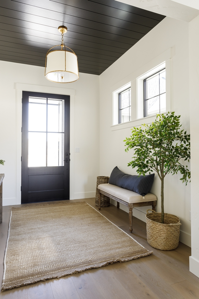 In the Entry of the home I used Sherwin Williams Caviar on the shiplap ceiling for a little pop of drama without it feeling too dominating and topped it off with a beautiful pendant