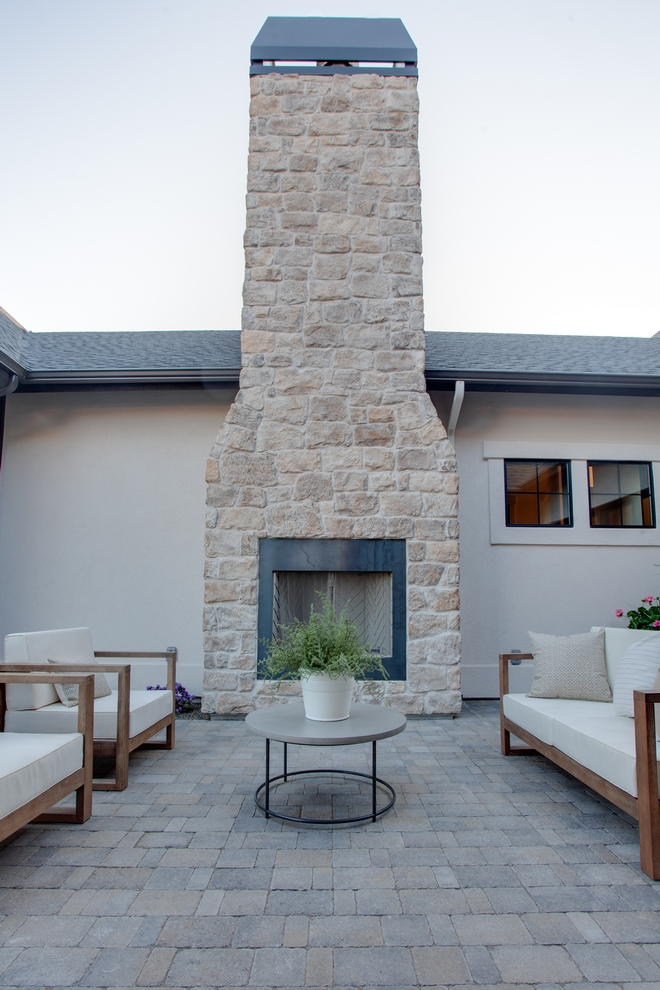 Outdoor Stone Fireplace Craft Orchard Limestone with Timberwolf Grout
