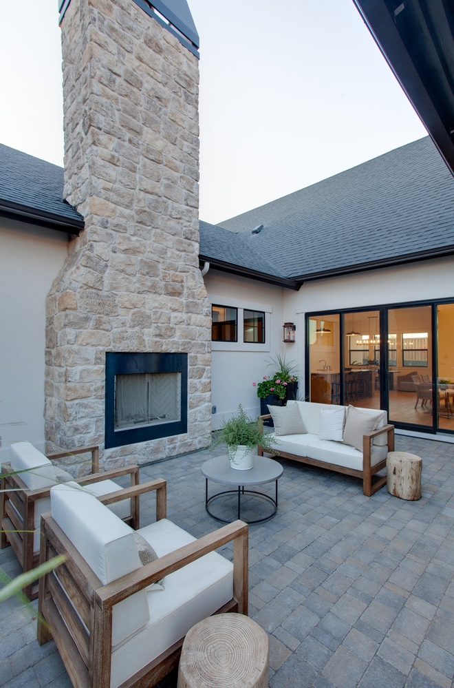 Patio with Outdoor Stone Fireplace