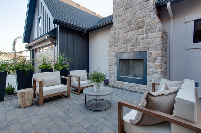 Front Patio with Stone Fireplace