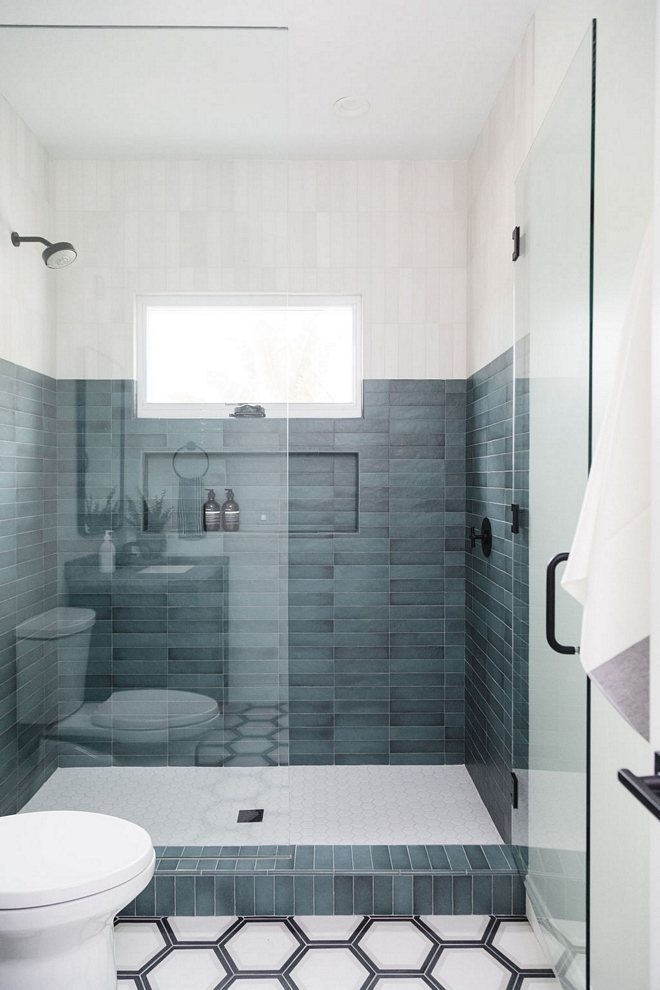 Two-Toned Shower Tile Blue and White Two-Toned Shower Tile