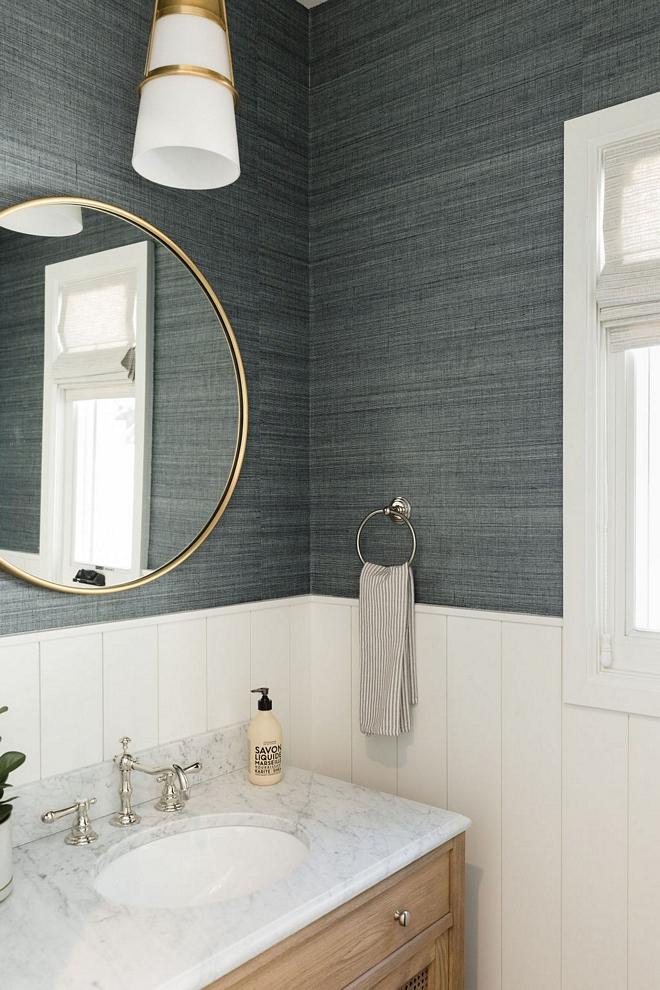 Wallpaper above wainscotting Bathroom Wallpaper above wainscotting Wallpaper Soho Hemp II Blue Vista Phillip Jeffries