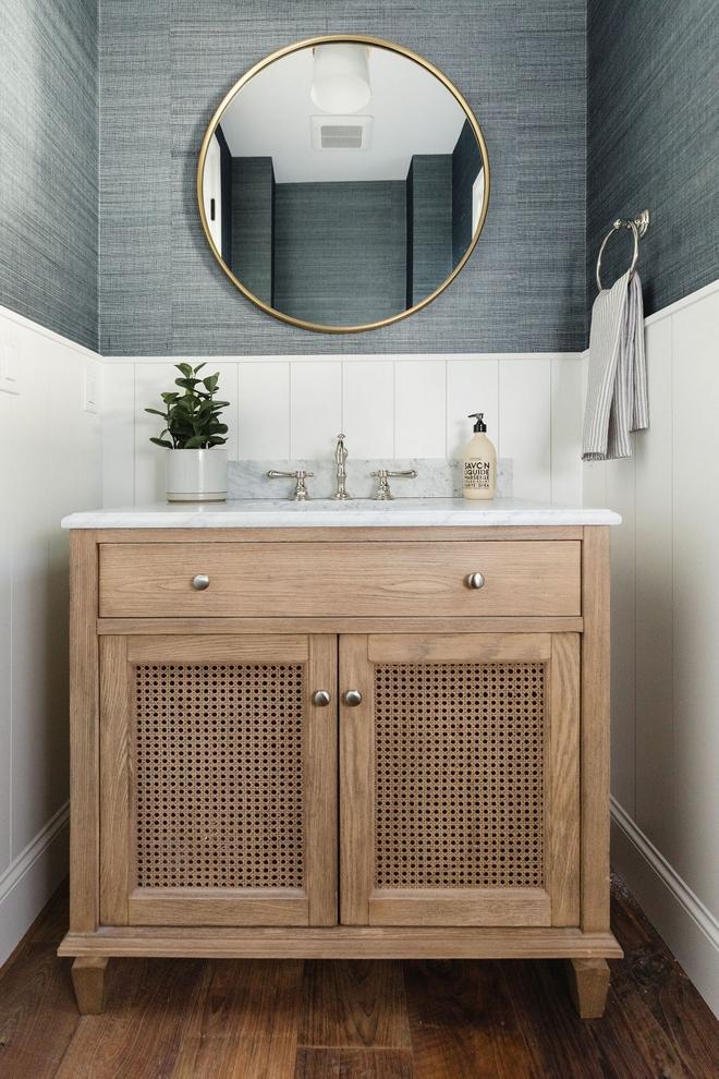 Vanity Bathroom Vanity Single Sink Vanity Elm Wood Carrara Marble Top
