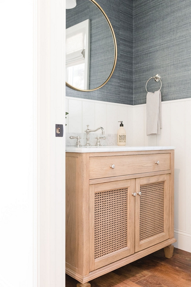 Bathroom Wainscoting 48-inch Vertical Paneled Wainscot Paint Color Chantilly Lace by Benjamin Moore