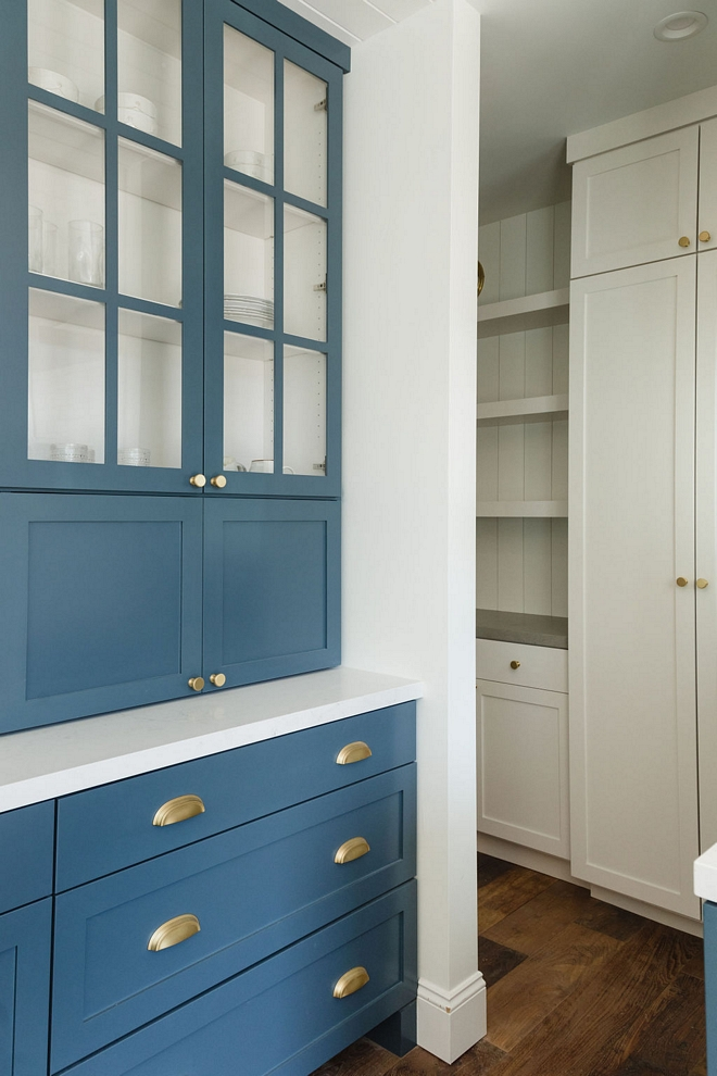 Blue Kitchen Cabinet in Sherwin Williams Tempe Star White Cabinet in Benjamin Moore Chantilly Lace