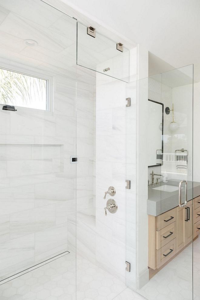 Shower Tile Combo 12x24 Dolomite Tile on walls and Hexagon Dolomite Tile on Floors