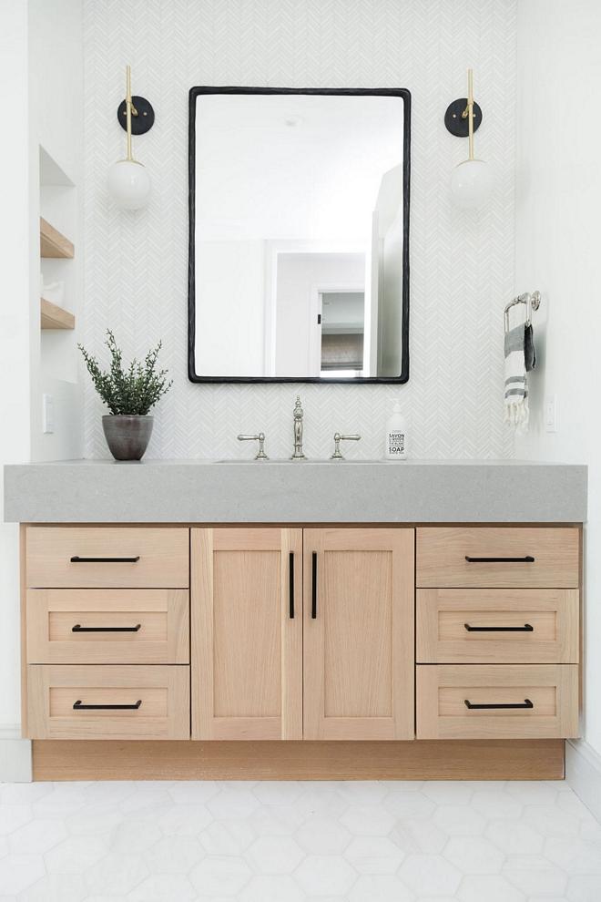 Bathroom Vanity Flat Panel and Shaker Stained Oak Custom Vanity