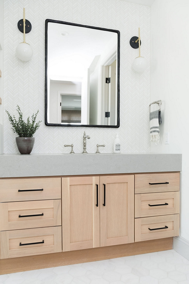 Clear Stained Oak Cabinet Bathroom Cabinet
