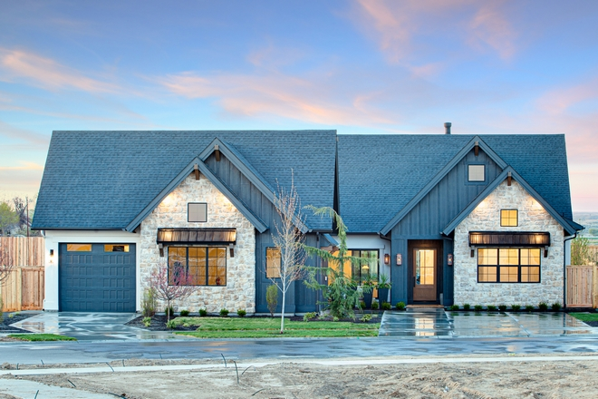 Black Modern Farmhouse with Limestone stone siding