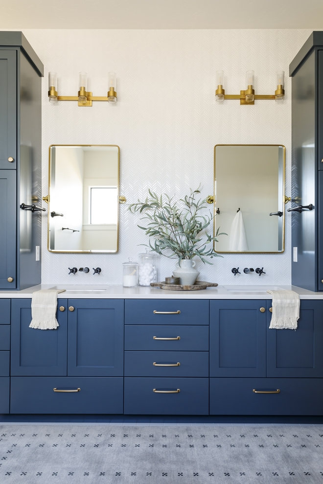 Cabinet Paint Color Sherwin Williams Mount Etna SW 7625 with brass hardware