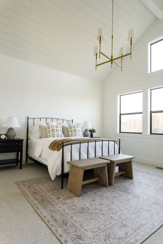 Bedroom Walls and Shiplap Ceiling Paint Color Sherwin Williams SW 7008 Alabaster