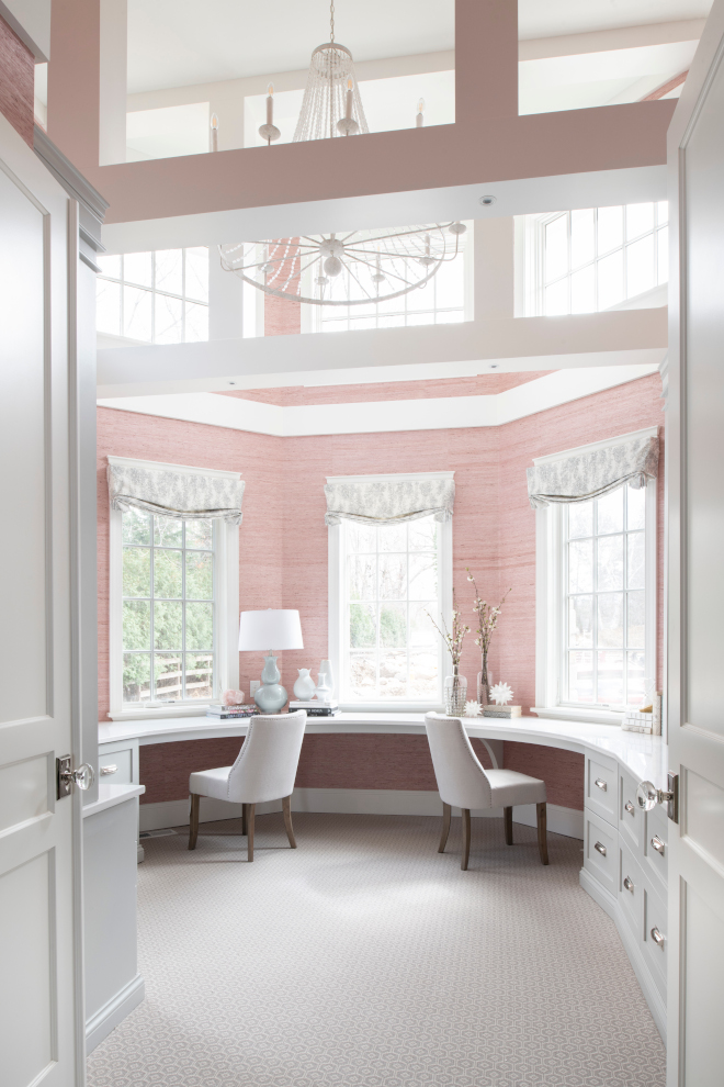 Two story home office windows Bay windows curved wall windows Bay window shades #Twostory #homeoffice windows #Baywindows #curvedwall #windows #windowshades