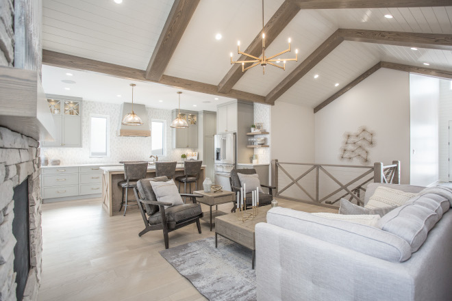 Vaulted Ceiling with Box Stained White Oak Beams with White Shiplap in Sherwin Williams Pure White Vaulted Ceiling with Box Stained White Oak Beams with White Shiplap in Sherwin Williams Pure White Vaulted Ceiling with Box Stained White Oak Beams with White Shiplap in Sherwin Williams Pure White #VaultedCeiling #Boxbeams #Stainedbeams #WhiteOakBeams #WhiteShiplap #SherwinWilliamsPureWhite #SherwinWilliams