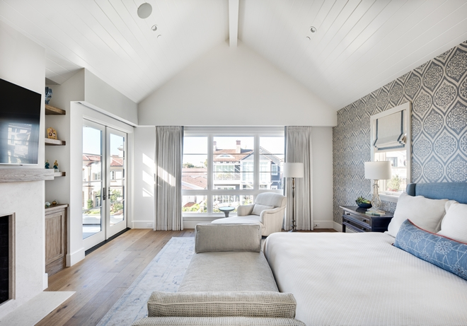 Master-Bedroom-features-vaulted-ceiling-with-box-beam-painted-Dunn-Edwards-Antique-Paper