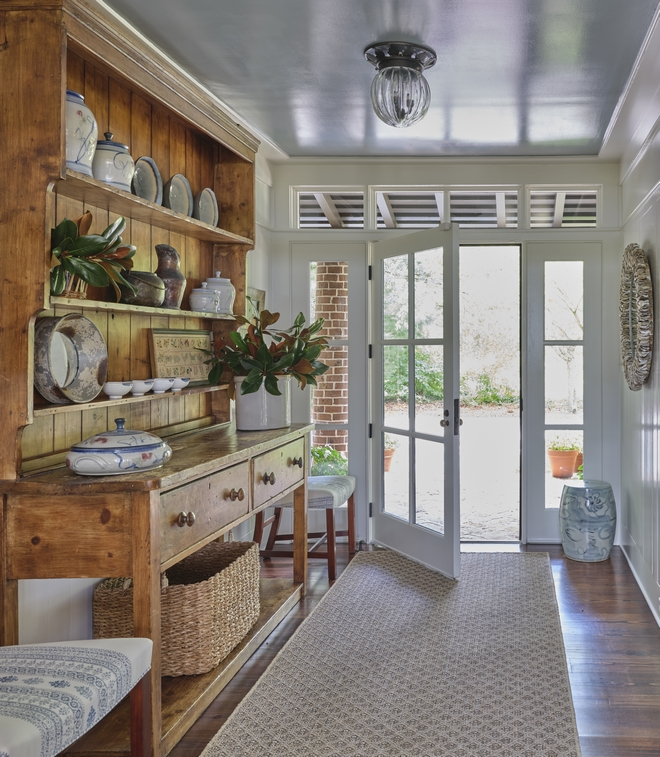 Foyer with antique Hutch and walls in Benjamin Moore White Dove Foyer with antique Hutch and walls in Benjamin Moore White Dove #Foyer #antiqueHutch #BenjaminMooreWhiteDove #BenjaminMoore