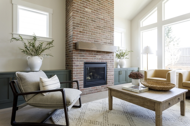 Brick Fireplace with Mossy Green Cabinets Brick Fireplace with Mossy Green Cabinet