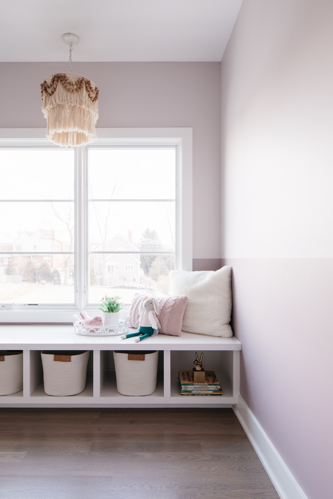 Two-toned Kids Bedroom Paint Colors Sherwin Williams SW 6008 Individual White above and Sherwin Williams SW 6017 Intuitive below