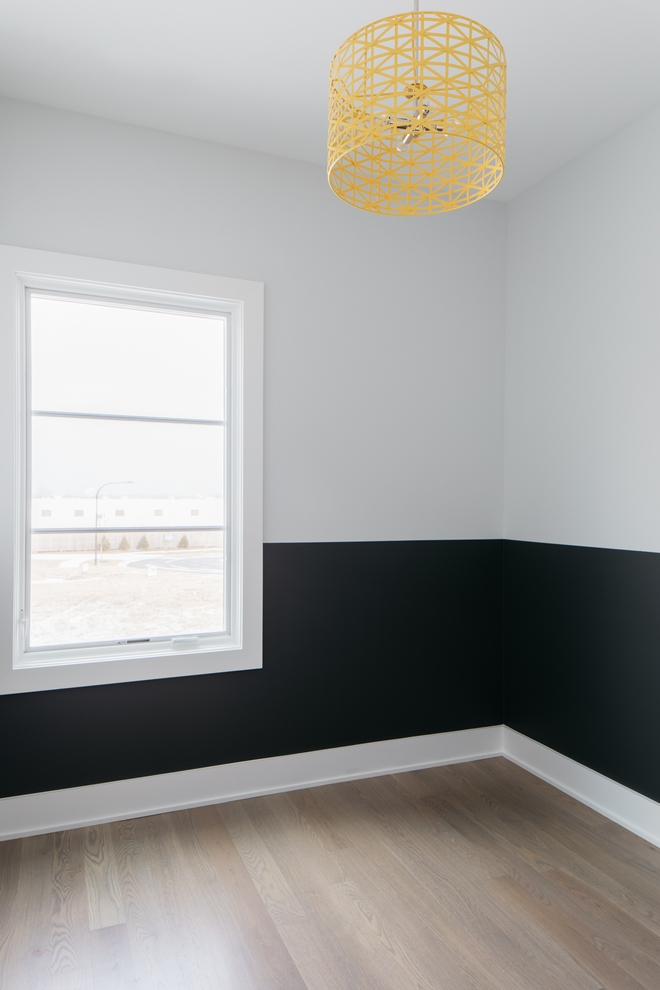 """Two-toned Wall Paint Colors: Painters tape line at 42"""" in Sherwin Williams Iron Ore below, Sherwin Williams Site White above"""