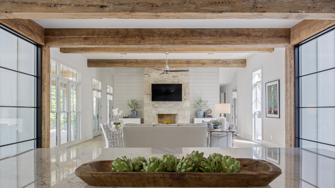 Kitchen to Family Room with Reclaimed Beams Kitchen to Family Room with Reclaimed Beam Ideas Kitchen to Family Room with Reclaimed Beams Kitchen to Family Room with Reclaimed Beams #Kitchen #FamilyRoom #ReclaimedBeams