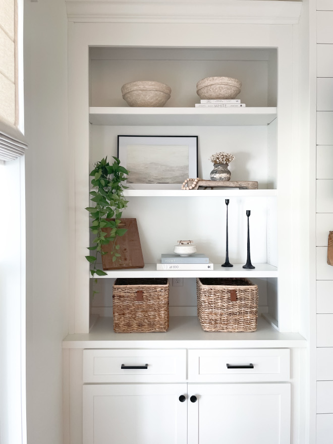 Sherwin Williams Alabaster Built-in Bookcase with shiplap back Sherwin Williams Alabaster Built-in Bookcase with shiplap back Sherwin Williams Alabaster Built-in Bookcase with shiplap back Sherwin Williams Alabaster Built-in Bookcase with shiplap back #SherwinWilliamsAlabaster #BuiltinBookcase