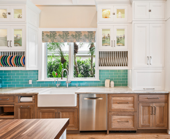 Two-toned kitchen cabinet White upper cabinets in Benjamin Moore White with Hickory Lower Cabinets