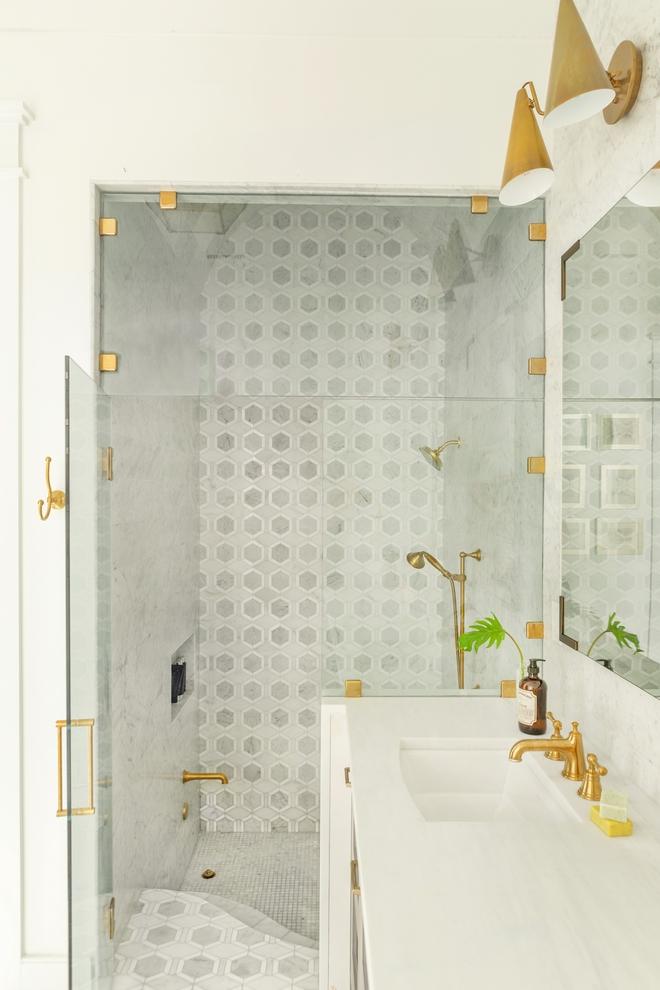 Drop-in-Shower-bath-with-Carrara-Honed-Marble-Waterjet-Metro-Hex-Mosaic-Tile