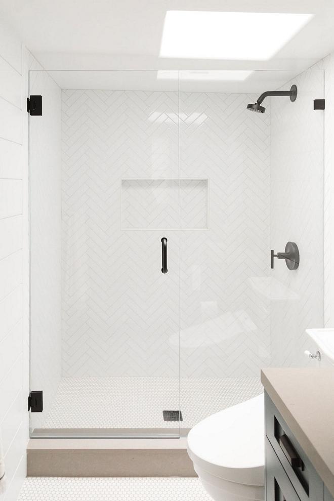 Herringbone-Patterned-Shower-Tile-White-Subway-Tile