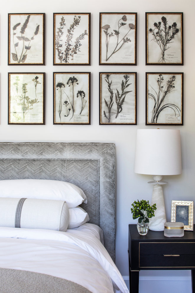 Art above bed Subtle textures and muted palette make this guest bedroom a perfect retreat The soft leather nightstand and sherpa blanket layer nicely with our favorite crisp bedding #Artabovebed #Bedroom #textures #mutedpalette #guestbedroom #retreat #leathernightstand #nightstand #sherpablanket #layers #bedding