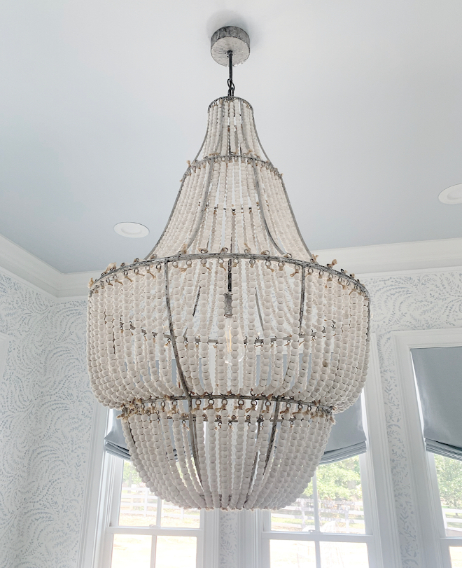 Beaded Chandelier Bead Chandelier This gorgeous chandelier adds a bit more of a whimsical coastal vibe to the space #BeadedChandelier #BeadChandelier #Chandelier #whimsical #coastal