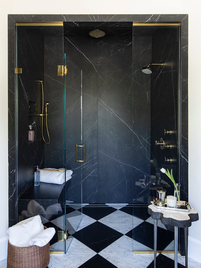 Black Marble Slab Shower Sexy black marble slab shower with brushed brass shower faucet Curbless Slab Shower Marquina Honed Quartzite #CurblessSlabShower #MarquinaQuartzite