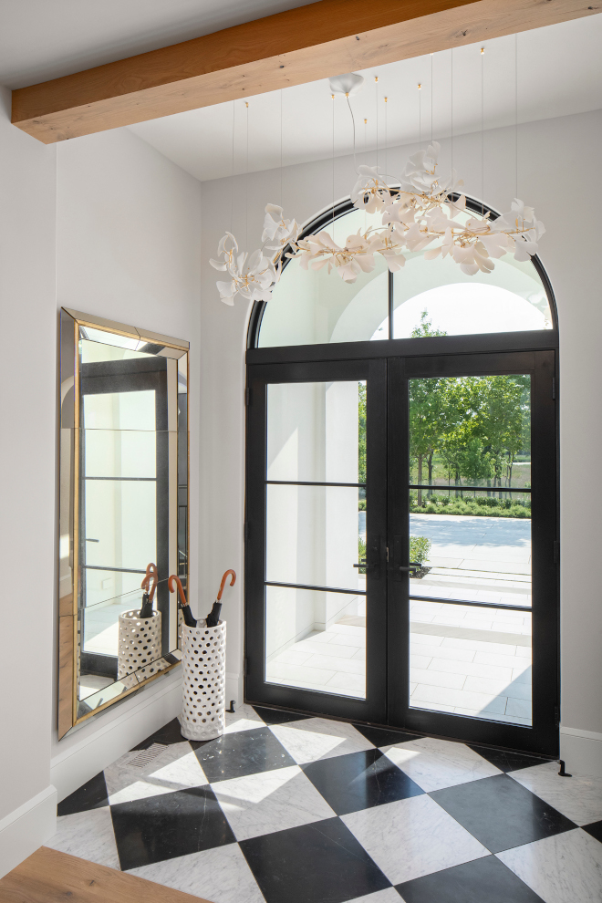 Double Glass Metal Front Door with arched Transom Window Transitional Foyer with metal glass door Double Glass Metal Front Door with arched Transom Window Transitional Foyer with metal glass door #DoubleGlassMetaldoor #FrontDoor #archedTransom #archedWindow #TransitionalFoyer #metalglassdoor