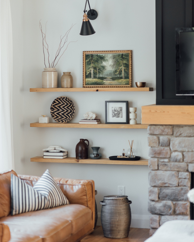 Floating Shelves by Fireplace Affordable idea to flank fireplace without a built-in cabinet Floating Shelves by Fireplace Affordable idea to flank fireplace without a built-in cabinet Floating Shelves by Fireplace Affordable idea to flank fireplace without a built-in cabinet #FloatingShelvesbyFireplace #FireplaceAffordableidea #fireplacewithoutbuiltin #fireplacecabinet