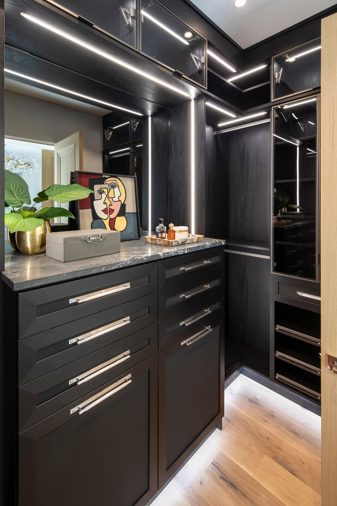 His closet in Black White Oak Cabinetry Rift-Cut White Oak with Black Stain Color