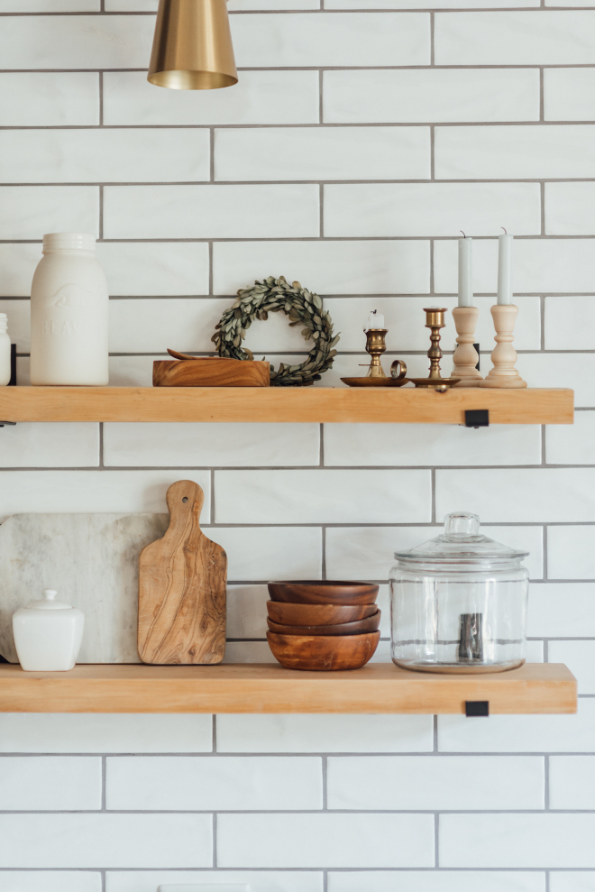 Kitchen Shelves I love the simplicity of the wooden shelves against the matte subway tiles Clean and zen without feeling cold Kitchen Shelves I love the simplicity of the wooden shelves against the matte subway tiles Clean and zen without feeling cold #KitchenShelves #woodenshelves #mattesubwaytile #subwaytile